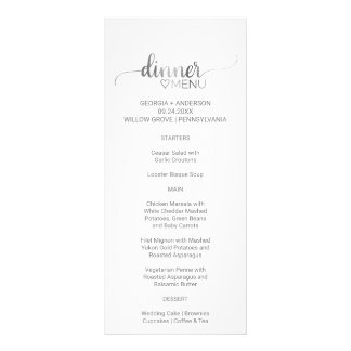 Simple Silver Calligraphy Wedding Dinner Menu Card