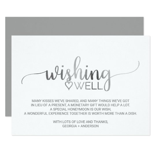Simple Silver Calligraphy Wedding Wishing Well Card
