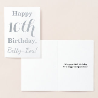 Simple Silver Foil 10th Birthday + Custom Name Foil Card