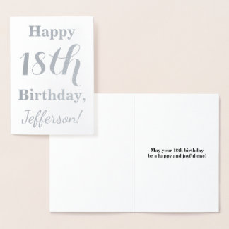Simple Silver Foil 18th Birthday + Custom Name Foil Card