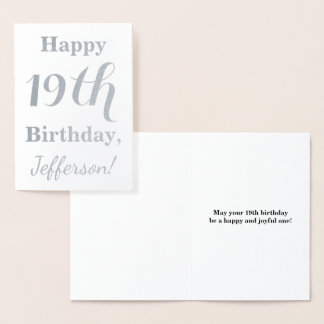 Simple Silver Foil 19th Birthday + Custom Name Foil Card
