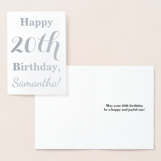 Simple Silver Foil 20th Birthday + Custom Name Foil Card