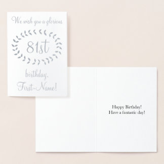 Simple Silver Foil 81st Birthday Greeting Card