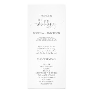 Simple Silver Foil Calligraphy Wedding Program 10 Cm X 23 Cm Rack Card