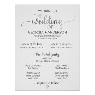 Simple Silver Foil Calligraphy Wedding Program (3) Poster