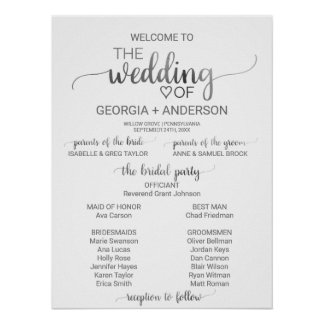 Simple Silver Foil Calligraphy Wedding Program Poster
