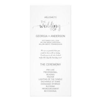 Simple Silver Foil Calligraphy Wedding Program Rack Card