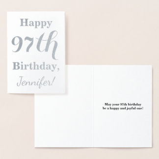 "Simple Silver Foil ""HAPPY 97th BIRTHDAY"" + Name Foil Card"
