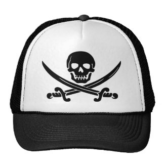 Simple Smiling Pirate Skull with Crossed Swords Cap