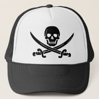 Simple Smiling Pirate Skull with Crossed Swords Trucker Hat
