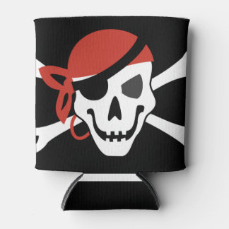Simple Smiling Pirate Skull with Red Bandana Can Cooler