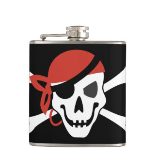 Simple Smiling Pirate Skull with Red Bandanna Hip Flask