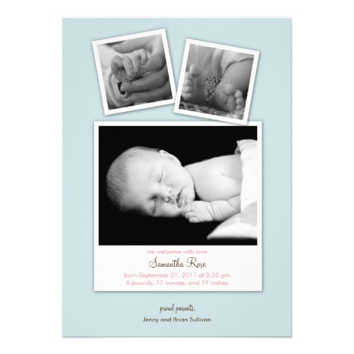 Simple Snapshots Baby Birth Announcement (Blue) Card