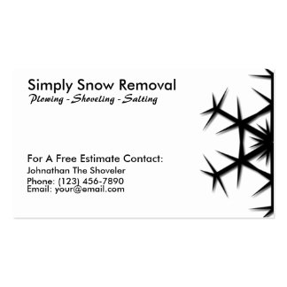 Simple Snow Shoveling, Plowing, Removal Card Business Card Template