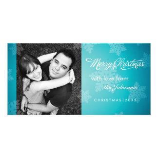 Simple snowflake blue Christmas photocard Custom Photo Card