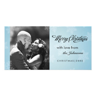 Simple snowflake blue Christmas photocard Photo Card Template