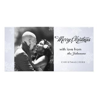 Simple snowflake Christmas photocard Photo Card Template