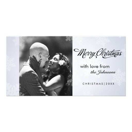 Simple snowflake Christmas photocard Photo Card Template