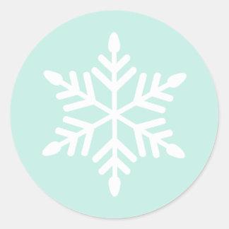 Simple Snowflake Classic Round Sticker