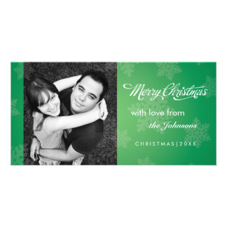 Simple snowflake green Christmas photocard Personalized Photo Card