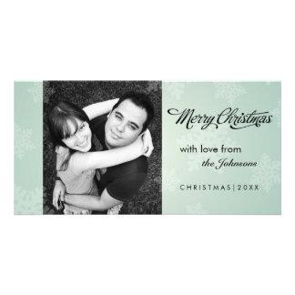 Simple snowflake mint green Christmas photocard Photo Card