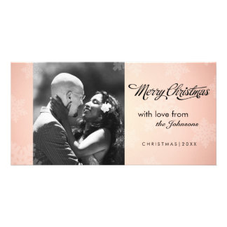 Simple snowflake peach Christmas photocard Photo Card