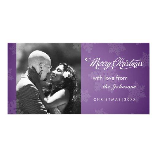Simple snowflake purple Christmas photocard Photo Card