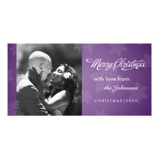 Simple snowflake purple Christmas photocard Personalised Photo Card