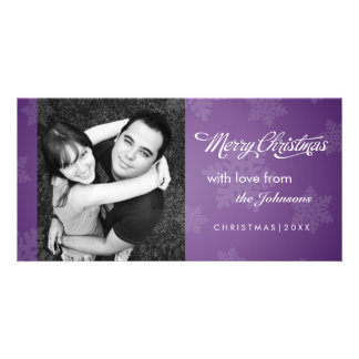 Simple snowflake purple Christmas photocard Picture Card