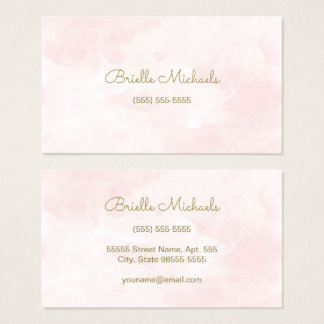 Simple Soft Pink Watercolor Gold Script Visiting