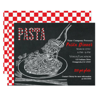 Simple Spaghetti Pasta Chalk Dinner Party Event Card