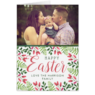 Simple Spring Blossom Custom Photo Happy Easter Card