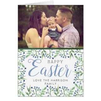 Simple Spring Blueberrie Custom Photo Happy Easter Card