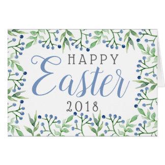 Simple Spring Blueberries Happy Easter Card