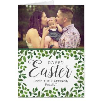 Simple Spring Foliage Custom Photo Happy Easter Card