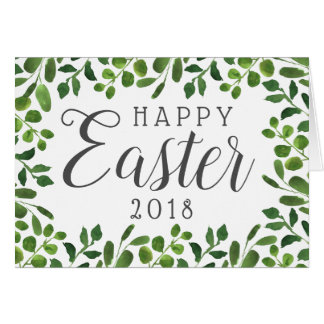 Simple Spring Foliage Happy Easter Card
