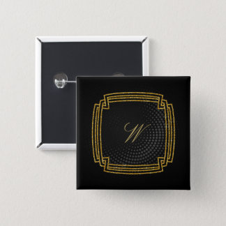 Simple Square Monogram on Black Circular 15 Cm Square Badge