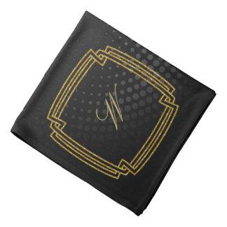 Simple Square Monogram on Black Circular Bandana