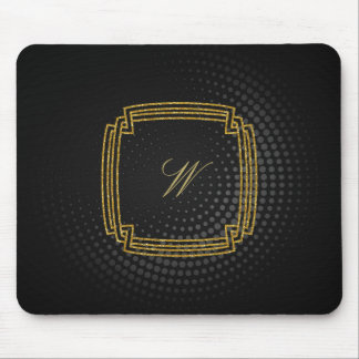 Simple Square Monogram on Black Circular Mouse Pad
