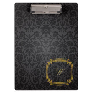 Simple Square Monogram on Black Damask Clipboard