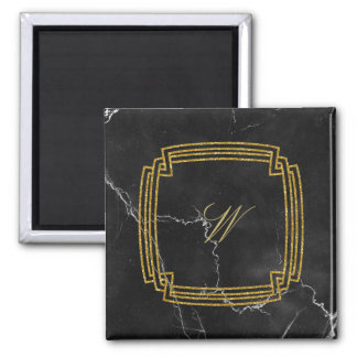 Simple Square Monogram on Black Marble Magnet