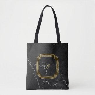 Simple Square Monogram on Black Marble Tote Bag
