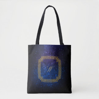 Simple Square Monogram on Blue Galaxy Tote Bag