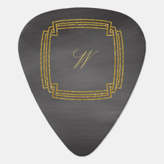 Simple Square Monogram on Chalkboard Plectrum