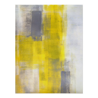 'Simple Squares' Grey and Yellow Abstract Art Poster