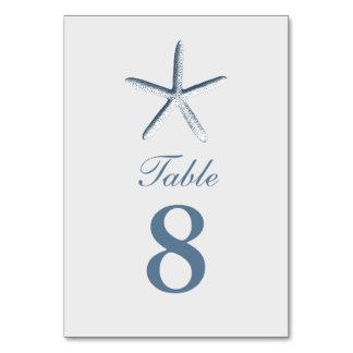 Simple Starfish Beach Wedding Table Numbers