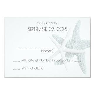 Simple Starfish White Wedding Reply Cards