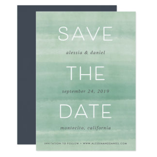Simple Statement | Jade Watercolor Save the Date Card