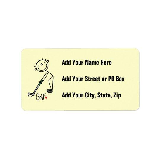 Simple Stick Figure Golfer Address Label