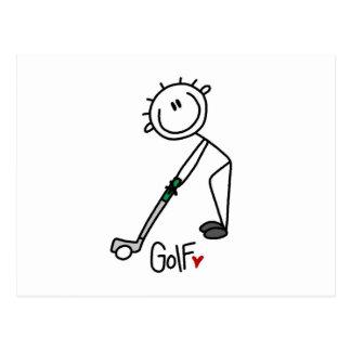 Simple Stick Figure Golfer Postcard
